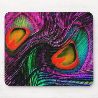 Peacock feather rainbow mouse pad