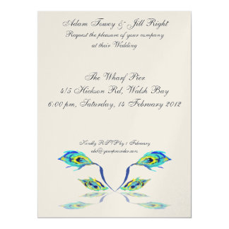 Peacock Feather Reflection invite