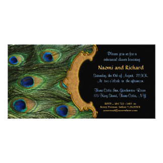 Peacock Feather Rehearsal Dinner Invitation