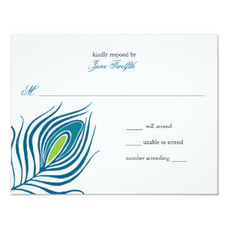 """Peacock Feather Response Card 4.25"""" X 5.5"""" Invitation Card"""