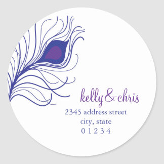 Peacock Feather Return Address labels Classic Round Sticker
