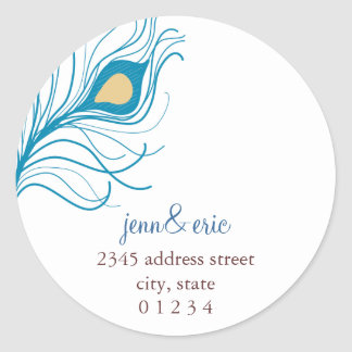 Peacock Feather Return Address Wedding labels