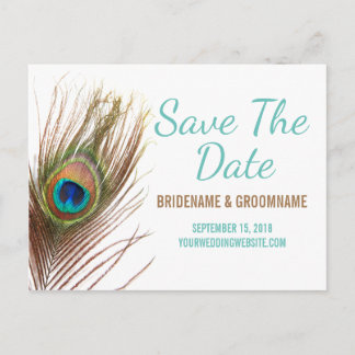 Peacock Feather Save The Date Announcement Postcard