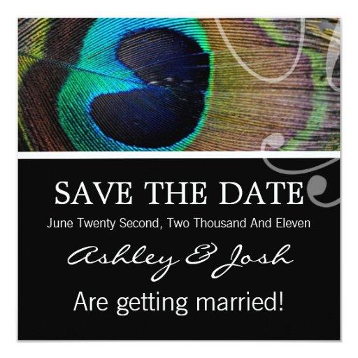 "Peacock Feather Save The Date Invites 5.25"" Square Invitation Card"