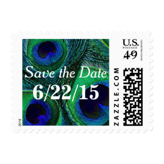 Peacock Feather Save the Date Postage Stamps