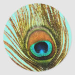 Peacock Feather Set 1107 Classic Round Sticker