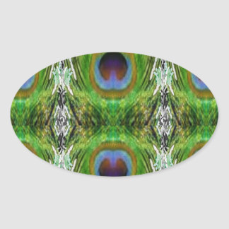 Peacock Feather Show Oval Sticker