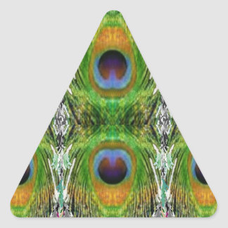 Peacock Feather Show Triangle Sticker