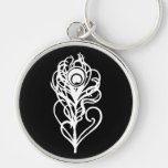 Peacock Feather Silver-Colored Round Keychain