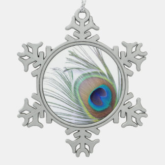 Peacock Feather Snowflake Pewter Christmas Ornament