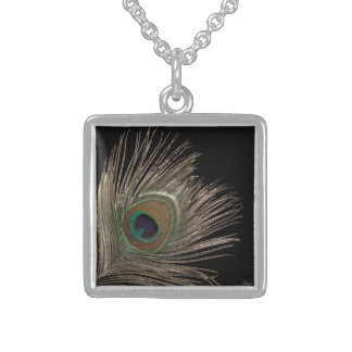 Peacock feather square pendant necklace