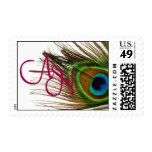 Peacock Feather Stamp with Monogram