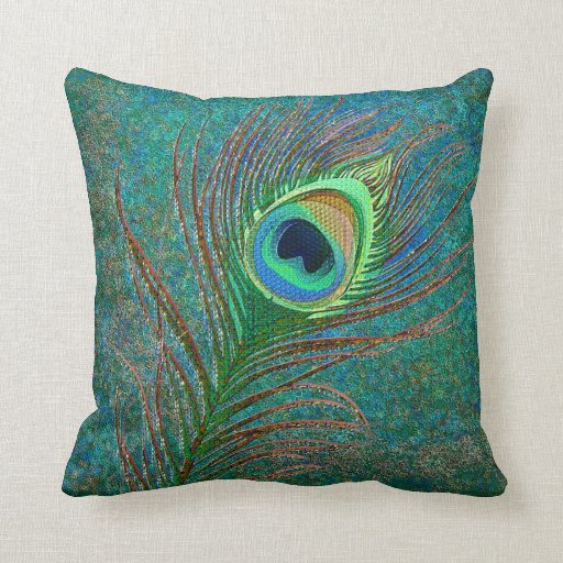 Peacock Feather Stars Pattern Pillows Zazzle