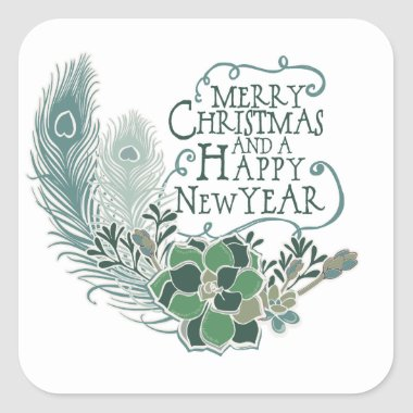 Peacock Feather Succulent Merry Christmas Sticker