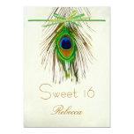 Peacock feather Sweet 16 Invitation