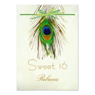 Peacock feather Sweet 16 Invitation