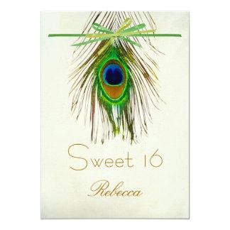 "Peacock feather Sweet 16 Invitation 5"" X 7"" Invitation Card"