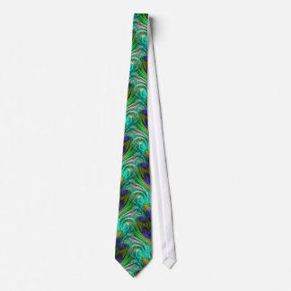 Peacock Feather Swirl Abstract Aqua Green Tie