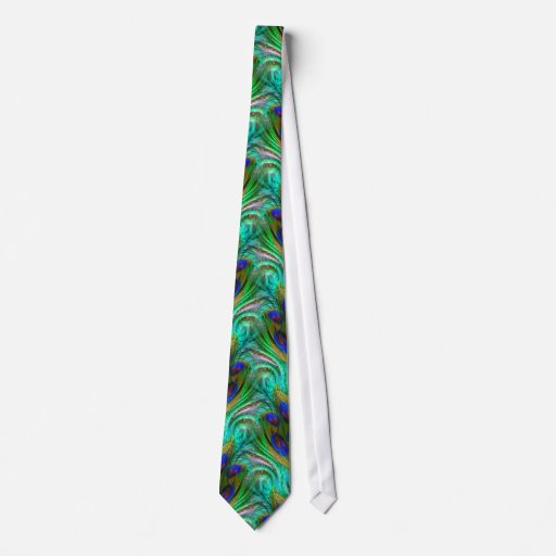 Peacock Feather Swirl Abstract Aqua Green Tie