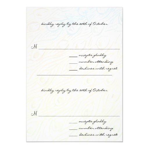 "Peacock Feather Swirls Wedding RSVP Cards 5"" X 7"" Invitation Card"