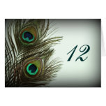 Peacock Feather Table Numbers Card