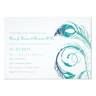 Peacock Feather - Teal and Navy Invitation