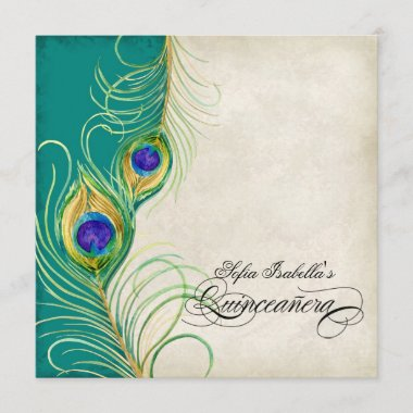 Peacock Feather Teal Blue Damask Quinceanera Party Invitation