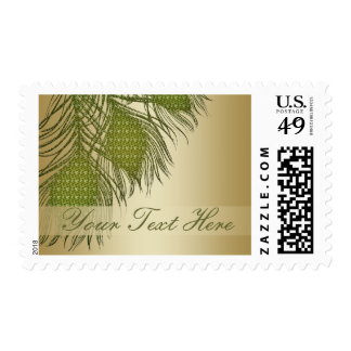 Peacock feather text banner postage