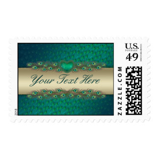 Peacock feather text banner template postage