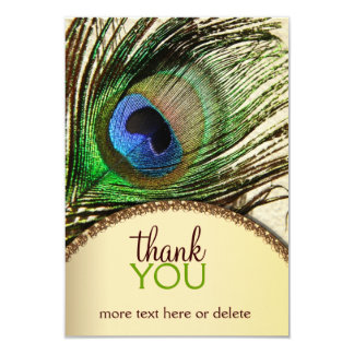 Peacock Feather Thank You Note Card