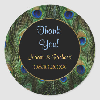 Peacock Feather -Thank You Seal - Customize Classic Round Sticker