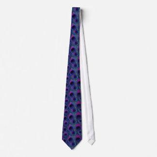 Peacock Feather Tie - Dark Purple Violet Aqua Blue