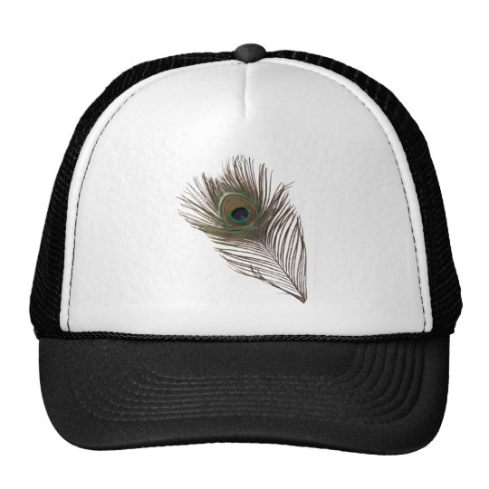 Peacock feather trucker hat