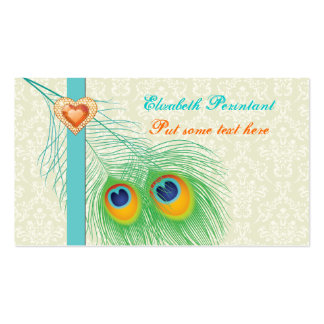 Peacock feather turquoise orange eye catching business cards