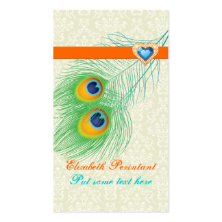 Peacock feather turquoise orange eye catching business card template