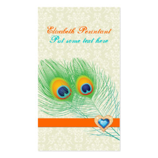 Peacock feather turquoise orange eye catching business card