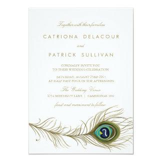 Peacock Feather Vintage Wedding Invitation