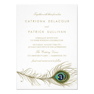 Peacock Feather Vintage Wedding Invitation
