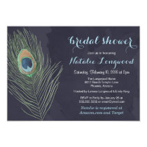 Peacock Feather Watercolor Baby or Bridal Shower Card