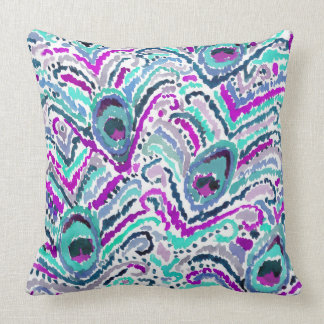 Peacock Feather Watercolor Boho Tribal Pillow