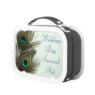 Peacock Feather Wedding Day Survival Kit Box Yubo Lunchbox
