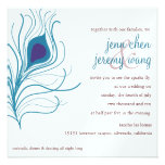 Peacock Feather Wedding eggplant & turquoise Personalized Announcements