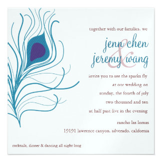 Peacock Feather Wedding eggplant turquoise Personalized Announcements