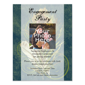 "Peacock Feather Wedding Engagement Party Photo 4.25"" X 5.5"" Invitation Card"
