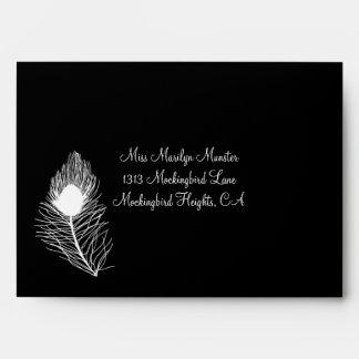 Peacock Feather Wedding Envelope - Black