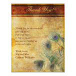 Peacock Feather Wedding Flat Thank You Card