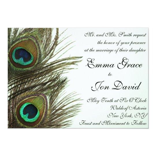 Peacock Feather Wedding Invitation Zazzle Com