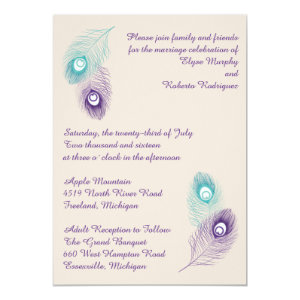 Peacock Feather Wedding Invitation 5