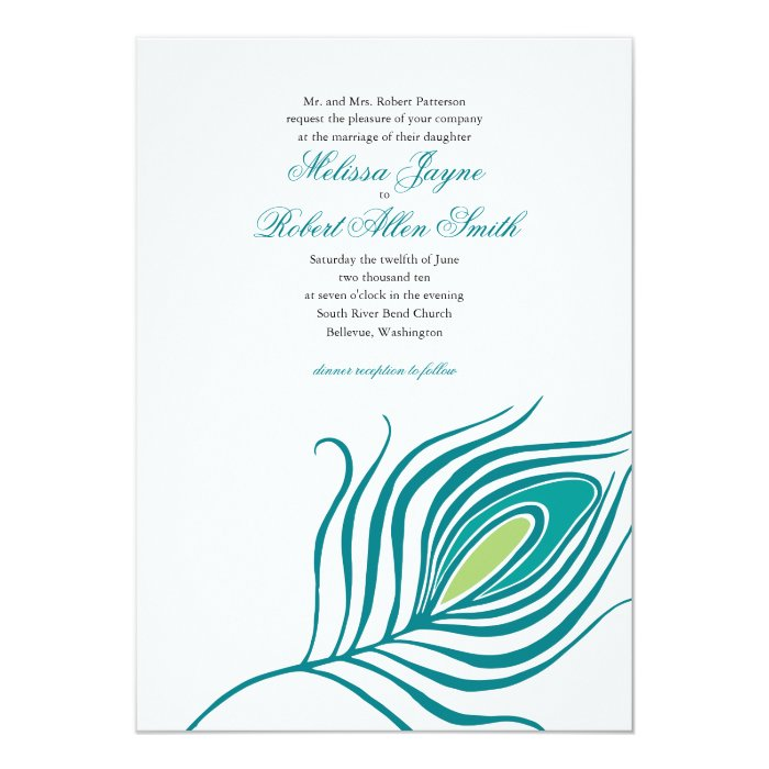 Peacock Feather Wedding Invitation