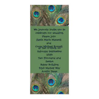 "Peacock Feather Wedding 4"" X 9.25"" Invitation Card"